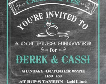 Printable Bridal Shower (Couples Shower) Invitation - Chalkboard Look 5 x 7 Print - Digital File Only