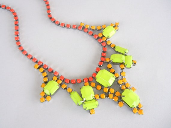 Vintage 1950s One Of  A Kind  Hand Painted Neon Red Orange and Yellow Rhinestone Necklace