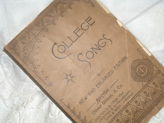 Vintage College Songs Music Book 1887