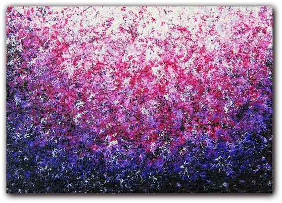 Original Abstract Oil Painting Purple Impressionst Art
