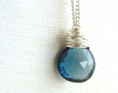 December Birthstone Necklace London Blue Topaz Jewelry Wire Wrapped Briolette Sterling Silver