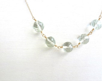 Green Amethyst Necklace Gold Filled Prasiolite Gemstone Jewelry