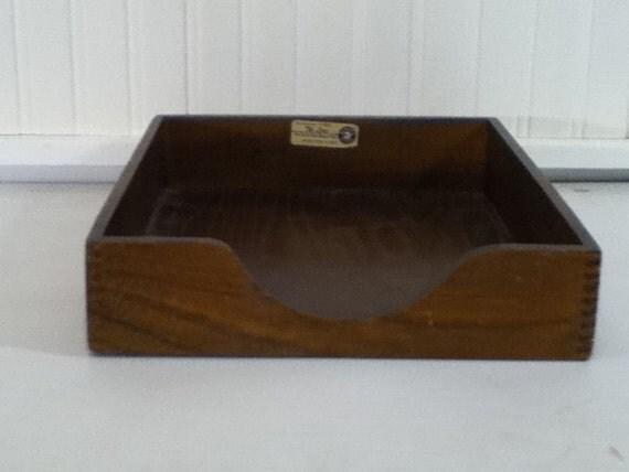 Desk In Box Tray, Wooden, Vintage, Industrial, Mad Men, Retro, Storage