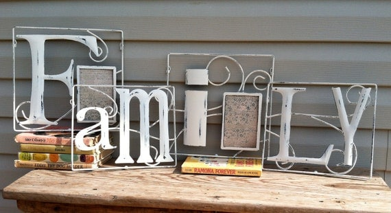 White Iron Wall Grouping that Spells 'Family' w/2 Picture Frames / Shabby Chic Wall Decor