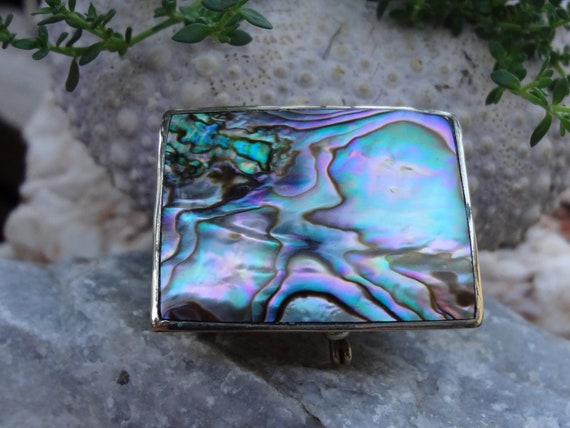 Sterling Silver Mother of Pearl / Abalone Trinket Box