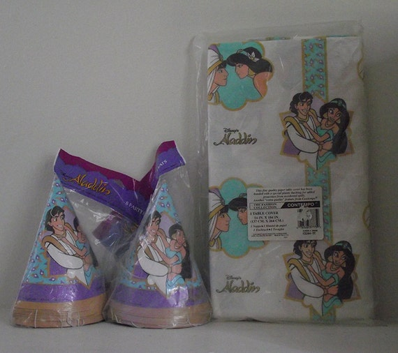 Aladdin and Jasmine Party Supplies - Aladdin Table Cloth and Party Hats - Aladdin and Jasmine- Disney's Aladdin - Aladdin Birthday Party