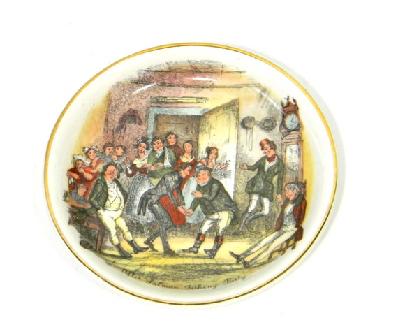 50s Wood & Sons Plate. Made in England. Decorative plate.  After Salmon Fishing Party. 19 Century scene. Father's day gift.