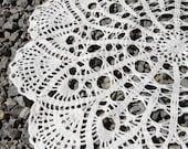 Round crochet doily white handmade linen crochet doily