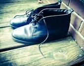 Vintage 90s Dexter Grunge Lace Up Black Leather Ankle Boots Shoes
