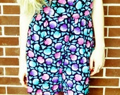 Vintage Seashell Pink Purple Blue Black Button Up Crop Top Blouse High Waisted Shorts Playsuit