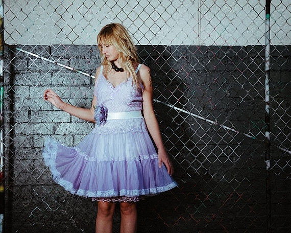 revived lilac & platinum chiffon lace petticoat cupcake babydoll dress by mermaid miss k