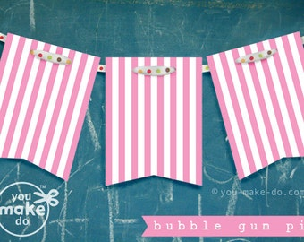 pink party printables pink birthday banner pink baby shower garland baby shower girl birthday decorations 1st birthday girl banner stripes
