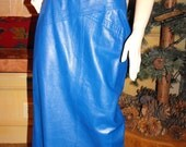 Vintage Blue Leather Skirt by Suzelle, Winter Fashion, Womens Small, Electric Blue, 80s, Long Pencil Skirt, Sexy Skirt, Classic Skirt, Small