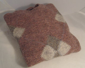 100% Shetland Wool Slip-Over Sweater with Argyle Design Made in England for Crew