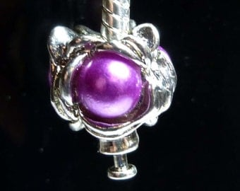 Rose Fushia Pearl Spacer Bead For European Style Charm Bracelet - Silver Plated