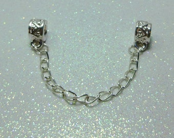 Safety Chain For European Style Charm Bracelet - Silver Plated