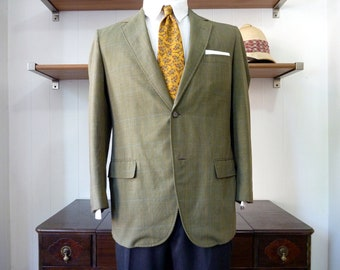 Vintage 1960s HASPEL Green Plaid Wash and Wear Summer Sack Jacket w/ Double Vents 38 S. Made in USA.