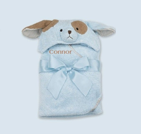 Personalized Baby Towel Puppy Dog Bath Towel By