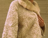 Ladies Vintage 1950s - 1960s Fur Coat - Sportowne Faux Lamb Fur Jacket