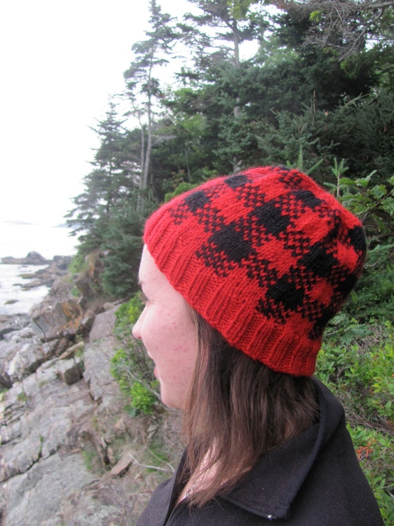 Maine-Inspired Red and Black Plaid Patterned Hat, Hand Knit