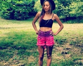 High waisted Ombre Distressed Shorts Pink and Purple