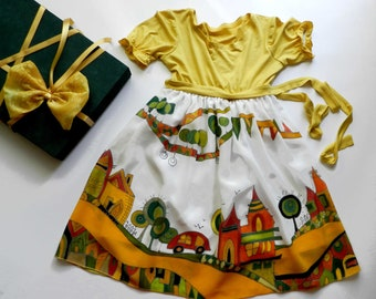 City scape silk dress hand painted for kids. Fairy tale silk dress.Yellow silk dress . Ready to ship.