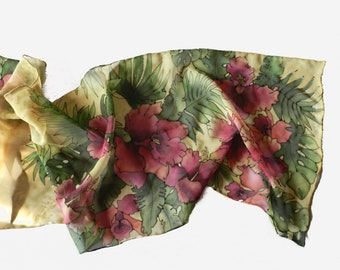 Hibiscus flower,  green and red hand painted silk scarf . Made to order. Free shipping.