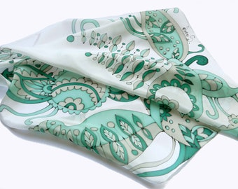 Mint scarf hand painted with paisley ornament . Silk paisley scarf. Mint scarf. Sage scarf. Made to order!