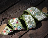 lace button and bow green adjustable guitar strap with leather tabs
