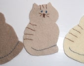 5 x Felt  Applique cats