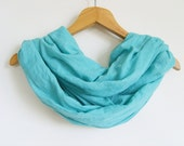 Infinity Scarf - Turquoise Scarf - Long and Lightweight Cotton Scarf for Women - Pareo-Pashmina Scarf