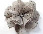 Handmade, grey, large, glittery, elegant flower brooch or hair piece, organza-like fabric, upcycling