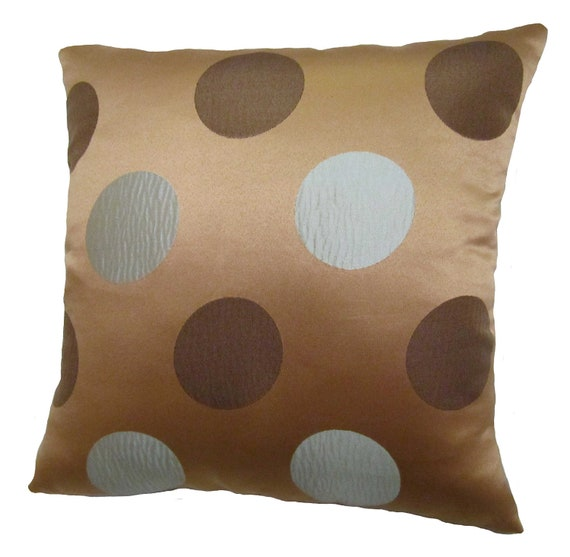 Blue and Brown Polka Dots Square Decorative by ReynosoHomeDecor