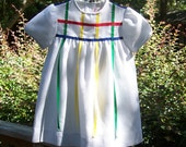 Size 4 -Vintage Love Girls' Dress - White Pique - Made in USA - ILGWU Label