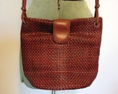 Vintage Woven Luggage-Brown Crossbody Bag by d'margeaux
