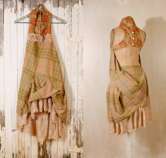 Bohemian gypsy dress Babydoll dress Gingham dress Woodland dress Fairy dress Tattered dress Hippy boho dress dress Green plaid