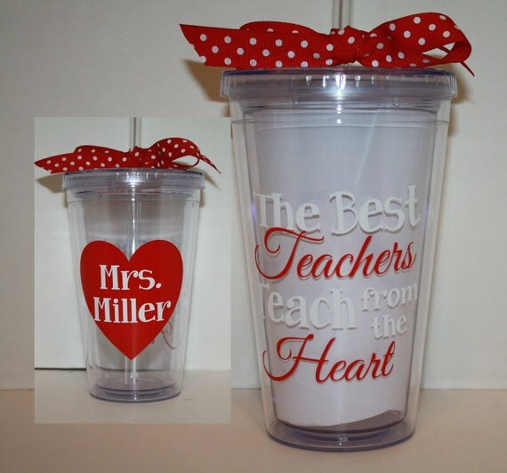 Personalized 16 oz acrylic tumbler with heart design and quote - Teacher gift