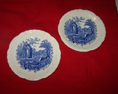 Vintage English Abbey Blue and white saucers