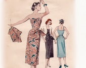 Vintage 50s Sewing Pattern - Strapless Hawaiian Sarong Dress with Asymmetrical Draped Skirt & Short Bolero Jacket - Butterick 6056, Bust 30