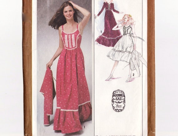 Vintage 1970s Sewing Pattern - Designer Couturier Sundress & Jacket - 1979 Simplicity 9350 by Gunne Sax / Jessica McClintock, Bust 32.5