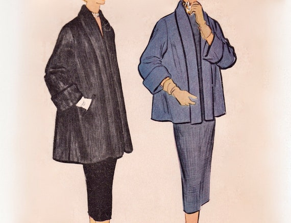 Vintage 1950s Sewing Pattern - Women's Lined Topper Coat with Shawl Collar, Short or Mid-Length - 1954 McCall's 9970, Bust 30