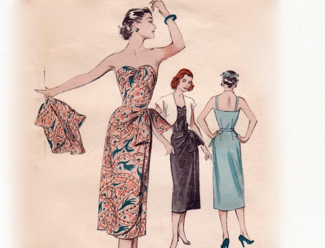 Vintage 50s Sewing Pattern Strapless Hawaiian Sarong Dress