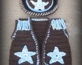 Crochet Pattern / Cowboy Hat Vest /  4 Sizes / 3 Boys & A Ball of Yarn