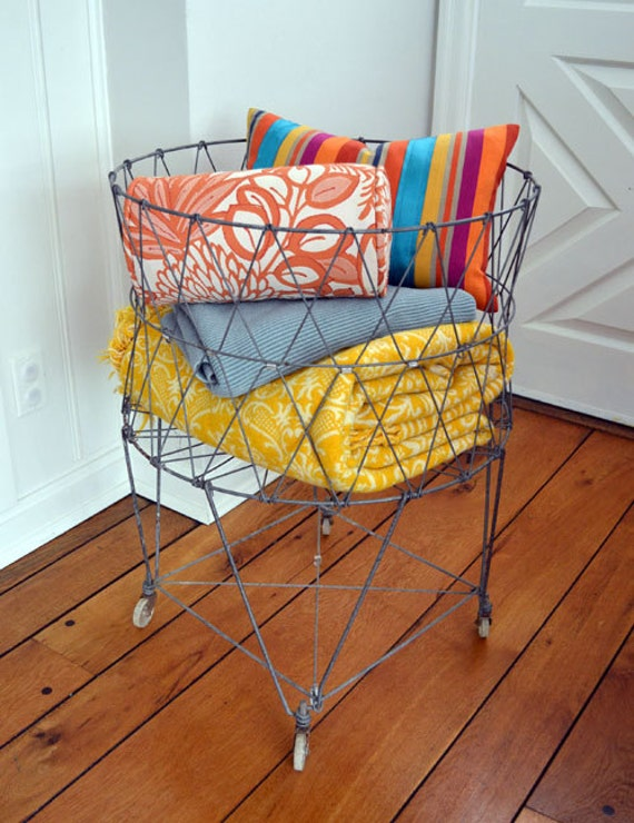 Vintage Industrial Wire Laundry Basket / Cart