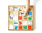 Wood Children's Picture/Word Learning Blocks- Japanese
