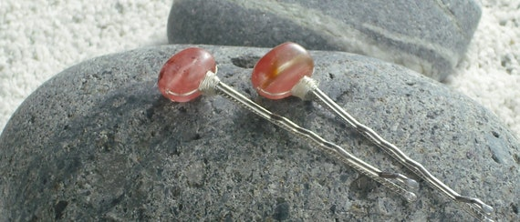Decorative Pink Hair Pins Pink Bobby Pins of Cherry Quartz