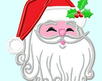 Santa Claus head APPLIQUE Embroidery Designs INSTANT DOWNLOAD