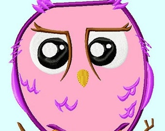 Cute Magenta Owl Applique Embroidery Design   INSTANT DOWNLOAD
