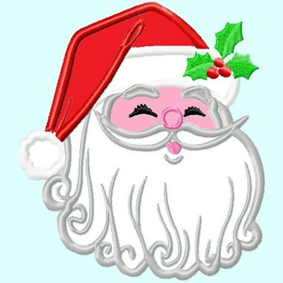 items similar to santa claus head applique embroidery
