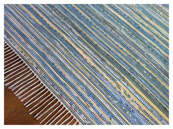 "Handmade Rag Rug - Blue and Yellow - 96"" x 120"""